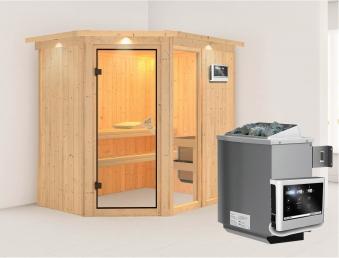 Karibu Sauna Fiona 1 68mm Dachkranz + Ofen 9kW extern classic Tür Bild 1