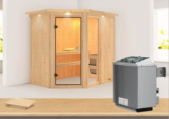 Karibu Sauna Fiona 1 68mm Dachkranz + Ofen 9kW intern classic Tür Bild 1