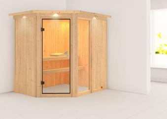 Karibu Sauna Fiona 1 68mm Dachkranz ohne Ofen classic Tür Bild 1