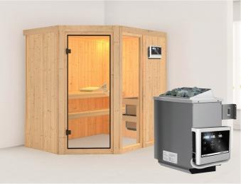 Karibu Sauna Fiona 1 68mm mit Ofen 9kW extern classic Tür Bild 1
