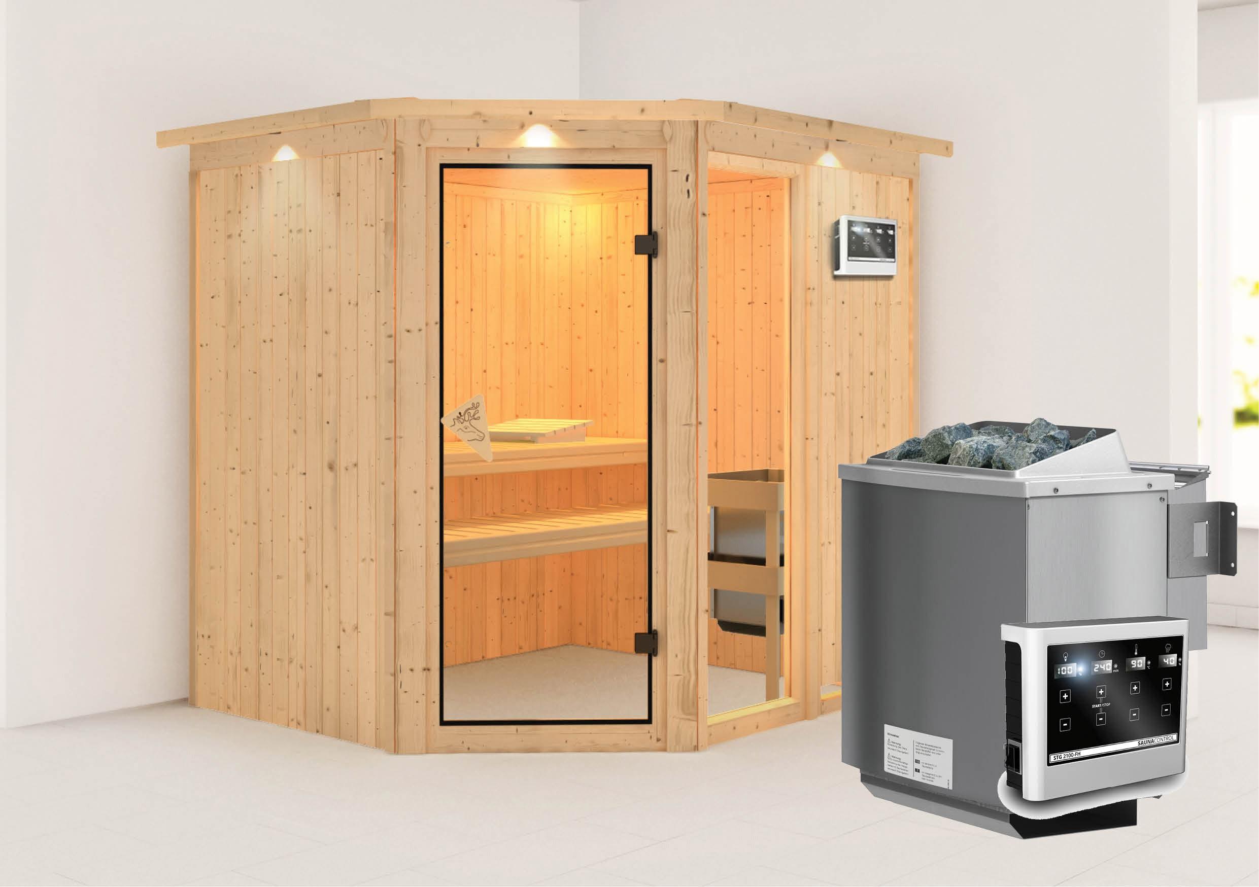 Karibu Sauna Fiona 2 68mm Dachkranz + Bio Ofen 9kW extern Bild 1