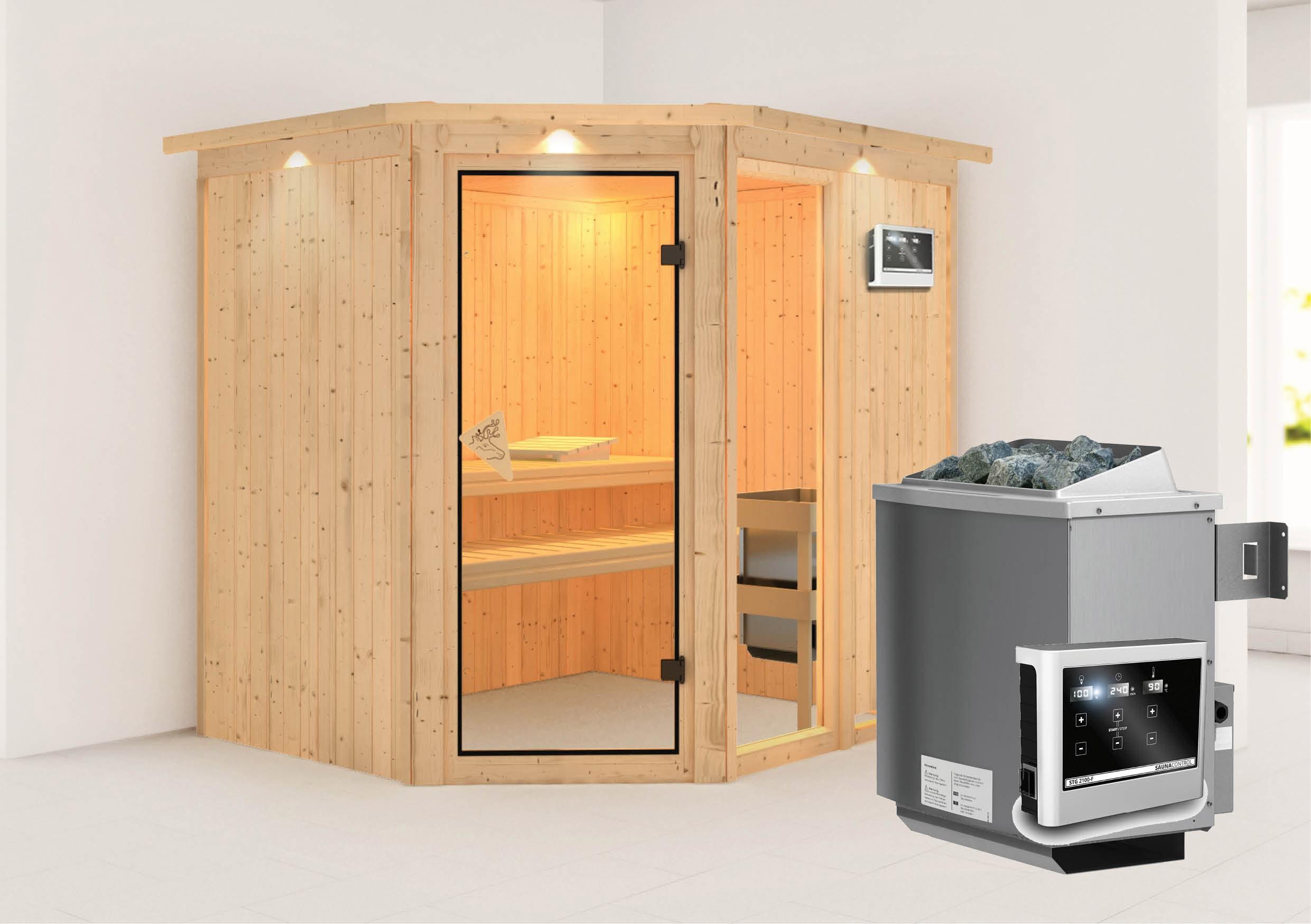 Karibu Sauna Fiona 2 68mm Dachkranz + Ofen 9kW extern classic Tür Bild 1