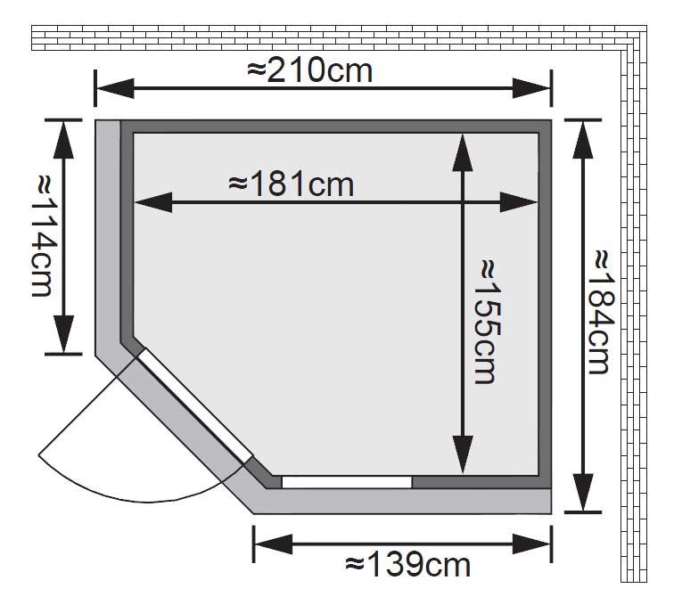 Karibu Sauna Fiona 2 68mm Dachkranz + Ofen 9kW extern classic Tür Bild 2