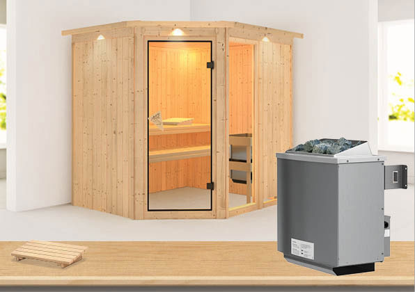 Karibu Sauna Fiona 2 68mm Dachkranz + Ofen 9kW intern classic Tür Bild 1