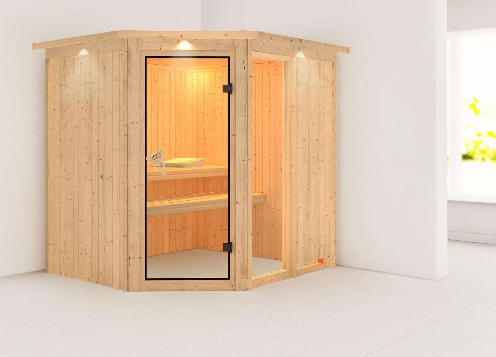 Karibu Sauna Fiona 2 68mm Dachkranz ohne Ofen classic Tür Bild 1