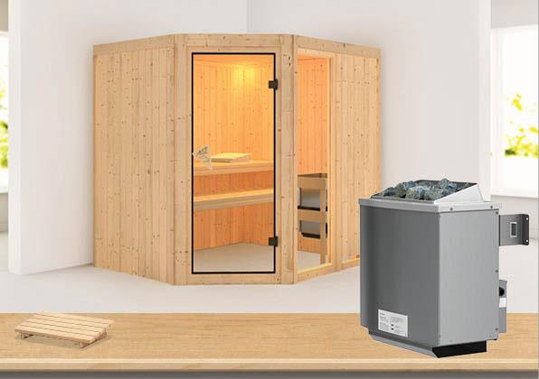 Karibu Sauna Fiona 2 68mm mit Ofen 9kW intern classic Tür Bild 1