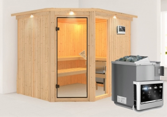 Karibu Sauna Fiona 3 68mm Dachkranz + Bio Ofen 9kW extern classic Tür Bild 1