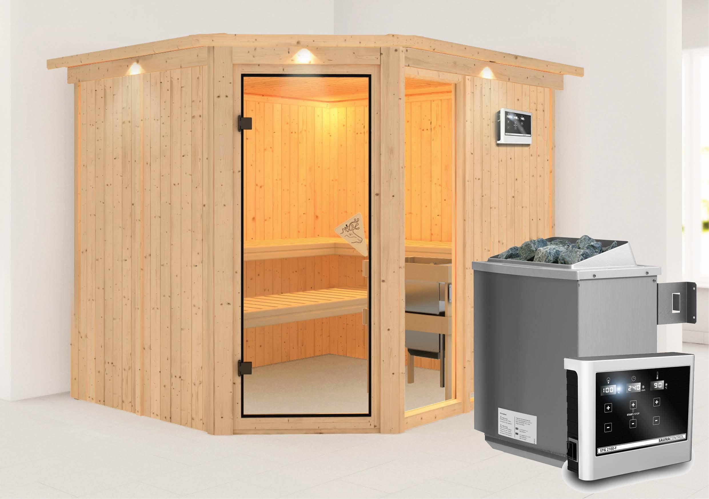 Karibu Sauna Fiona 3 68mm Dachkranz + Ofen 9kW extern classic Tür Bild 1