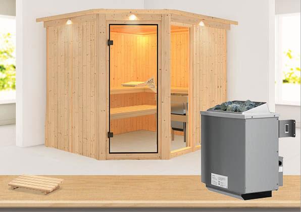 Karibu Sauna Fiona 3 68mm Dachkranz + Ofen 9kW intern classic Tür Bild 1