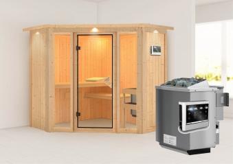 Karibu Sauna Flora 1 68mm Dachkranz + Bio Ofen 9kW extern classic Tür Bild 1