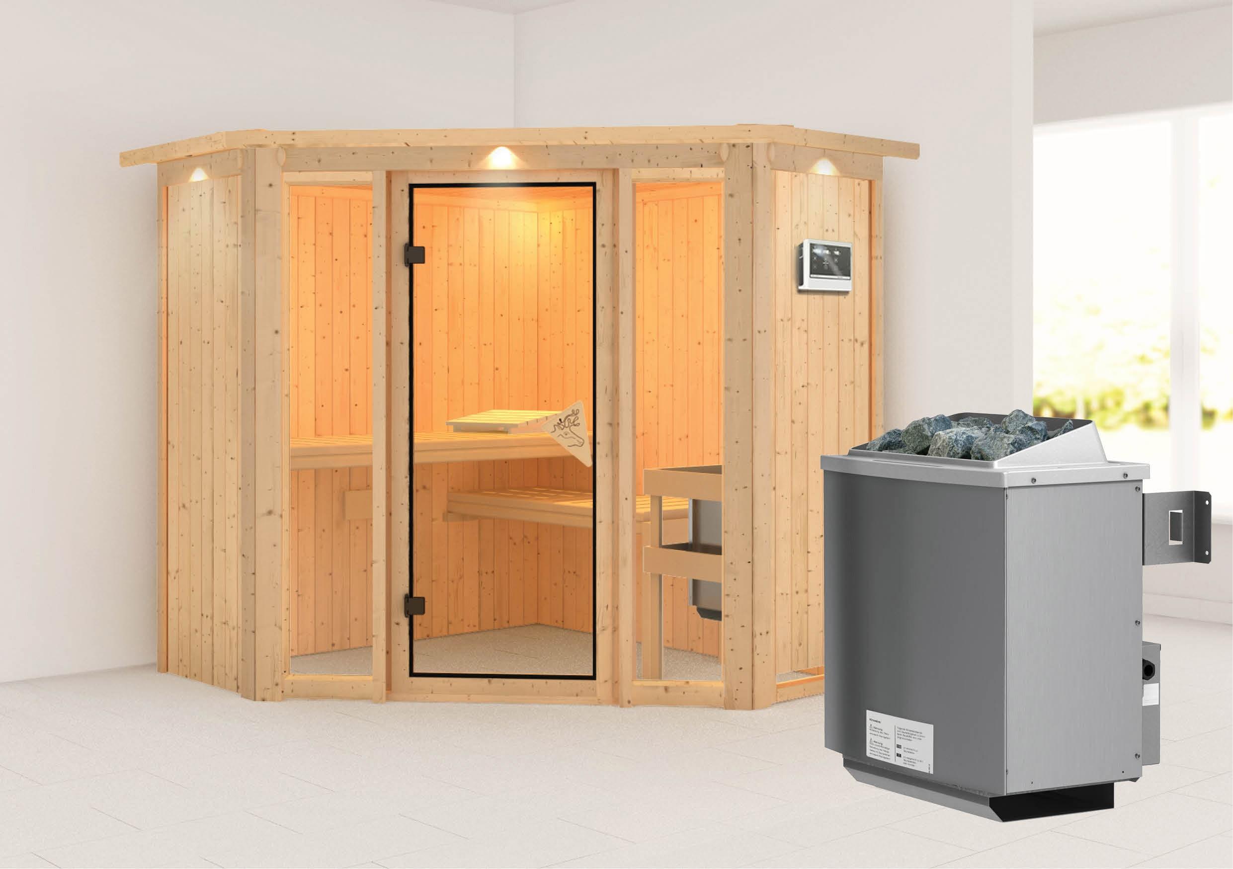 Karibu Sauna Flora 1 68mm Dachkranz + Ofen 9kW extern classic Tür Bild 1