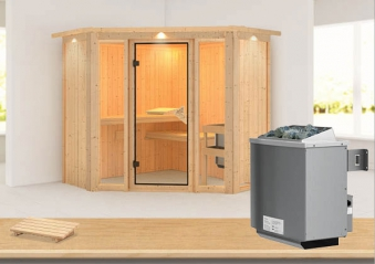 Karibu Sauna Flora 1 68mm Dachkranz + Ofen 9kW intern classic Tür Bild 1