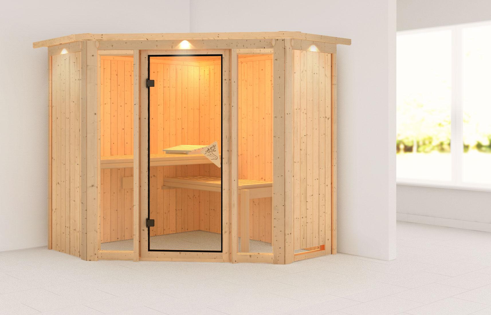 Karibu Sauna Flora 1 68mm Dachkranz ohne Ofen classic Tür Bild 1