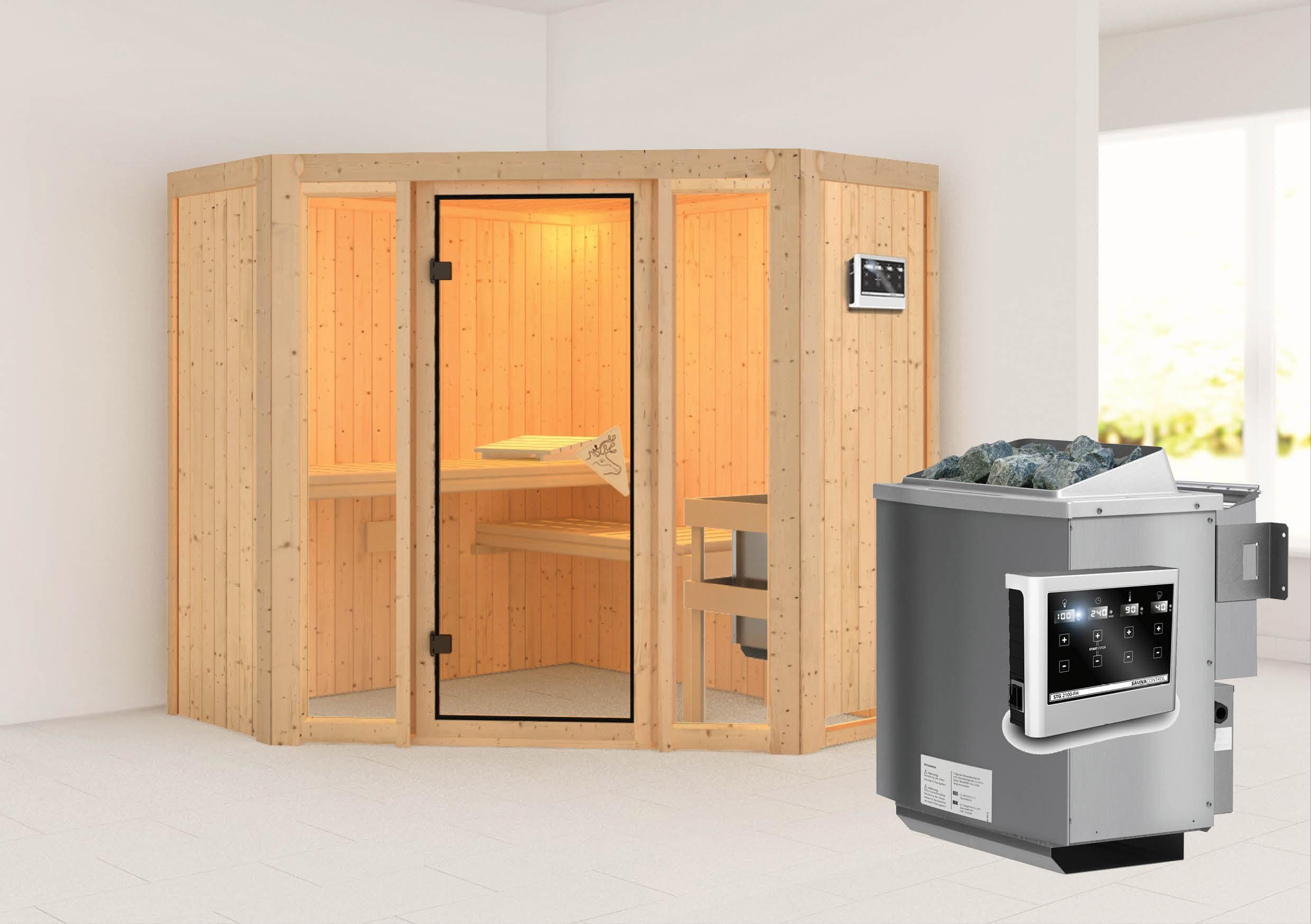 Karibu Sauna Flora 1 68mm mit Bio Ofen 9kW extern classic Tür Bild 1