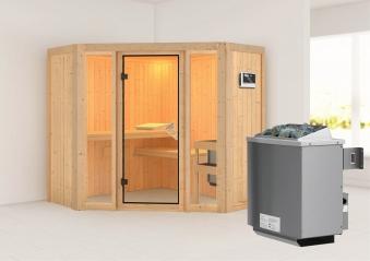 Karibu Sauna Flora 1 68mm mit Ofen 9kW extern classic Tür Bild 1