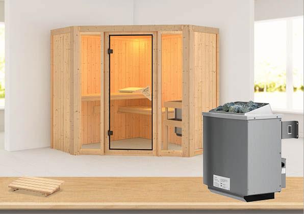 Karibu Sauna Flora 1 68mm mit Ofen 9kW intern classic Tür Bild 1