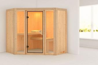 Karibu Sauna Flora 1 68mm ohne Ofen classic Tür Bild 1