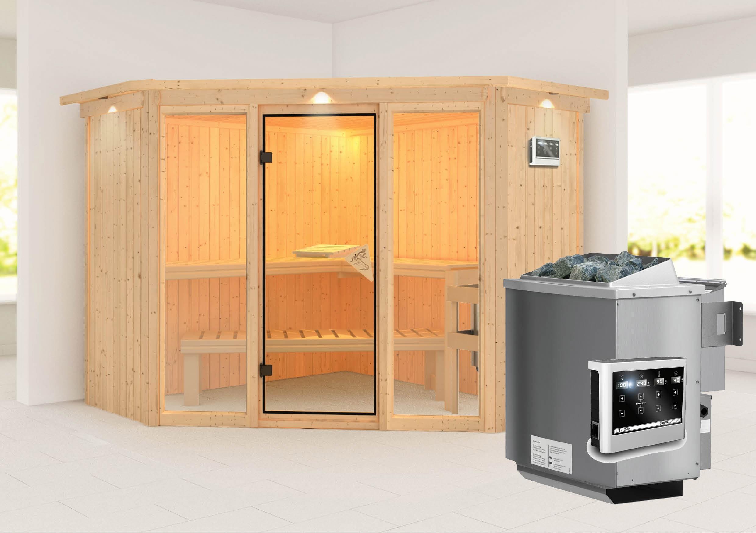 Karibu Sauna Flora 2 68mm Dachkranz + Bio Ofen 9kW extern classic Tür Bild 1