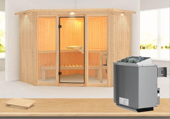 Karibu Sauna Flora 2 68mm Dachkranz + Ofen 9kW intern classic Tür Bild 1