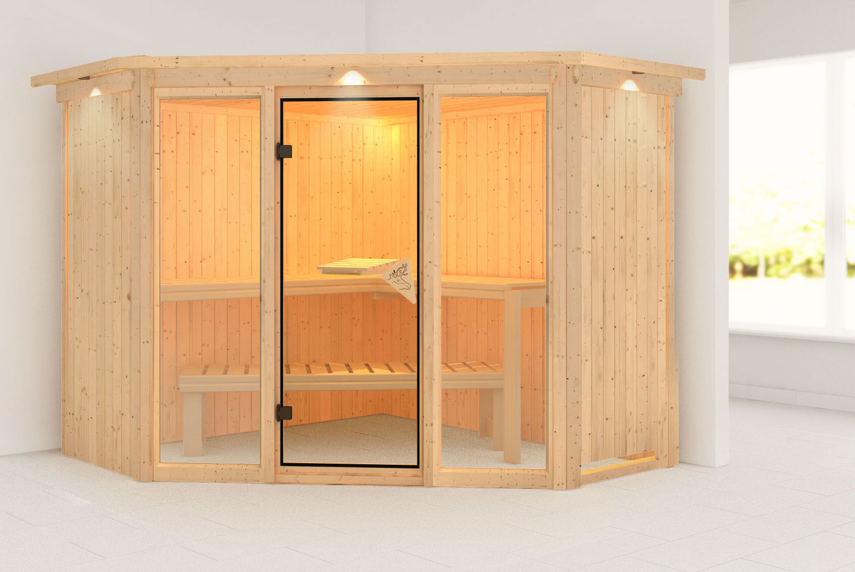 Karibu Sauna Flora 2 68mm Dachkranz ohne Ofen classic Tür Bild 1