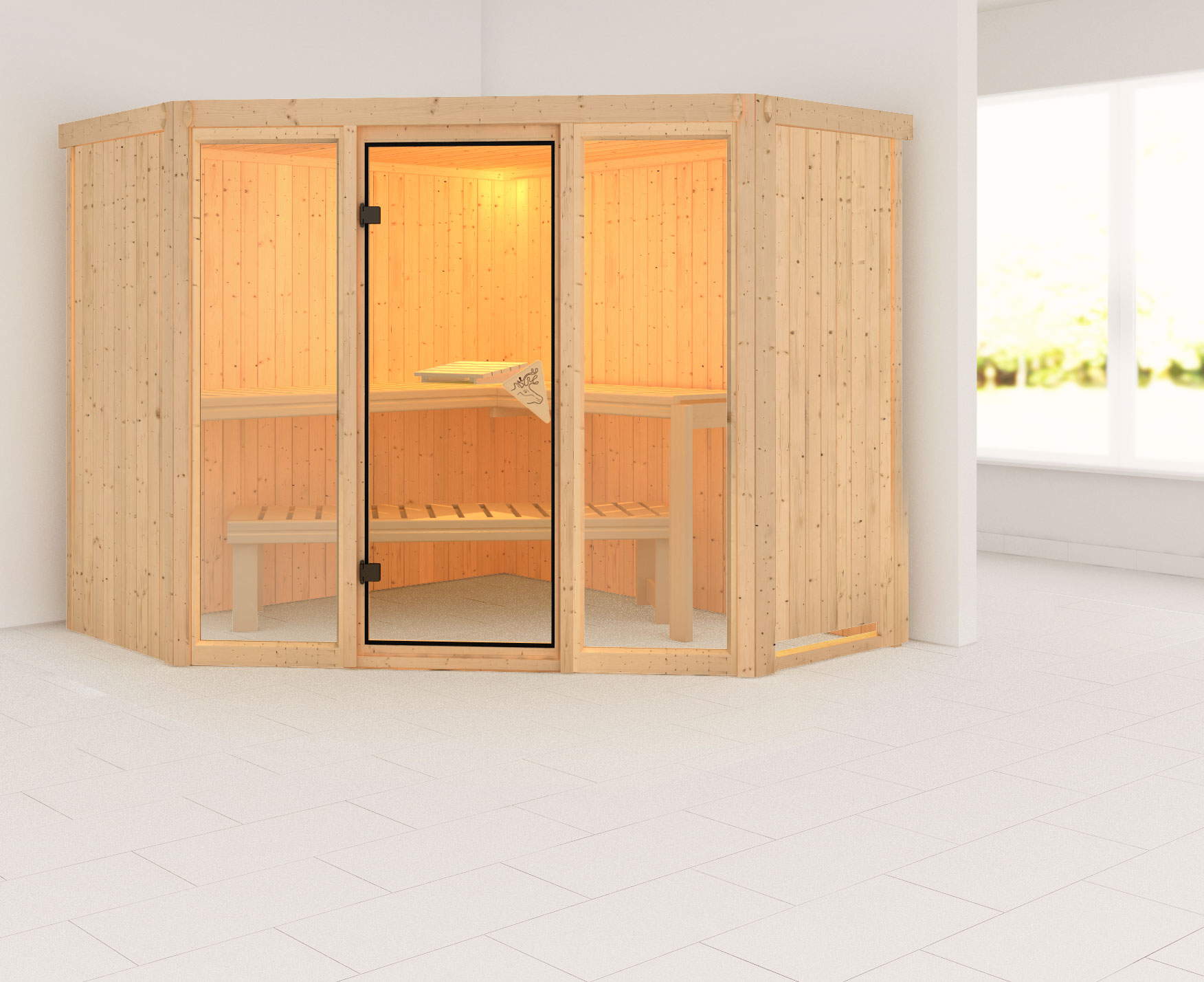 Karibu Sauna Flora 2 68mm ohne Ofen classic Tür Bild 1