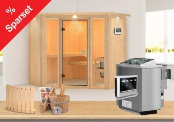 Karibu Sauna Flora1 68mm Dachkranz + Bio Ofen 9 kW extern - Sparset Bild 1