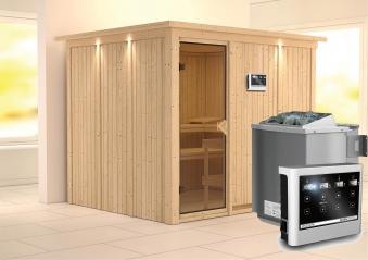 Karibu Sauna Gobin 68mm Dachkranz + Bio Ofen 9kW extern classic Tür Bild 1