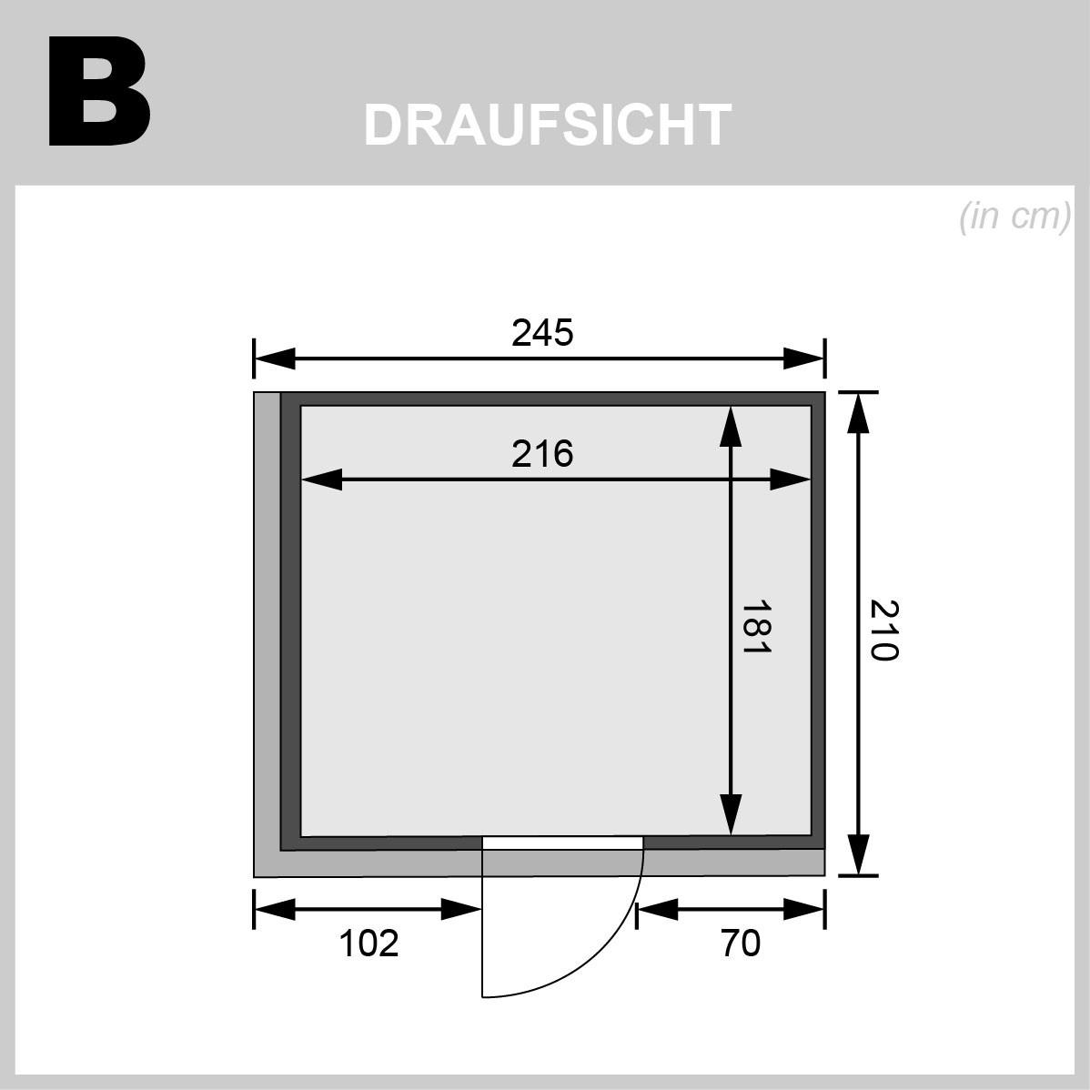 Karibu Sauna Gobin 68mm Dachkranz + Ofen 9kW extern Holztür Bild 2