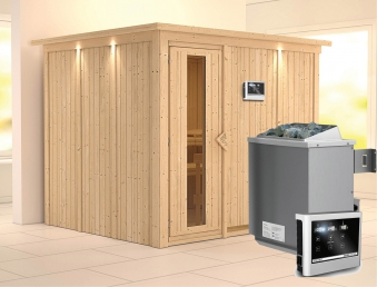 Karibu Sauna Gobin 68mm Dachkranz + Ofen 9kW extern Holztür Bild 1