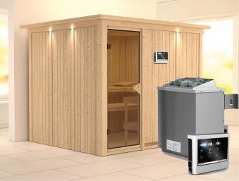 Karibu Sauna Gobin 68mm Dachkranz + Ofen 9kW extern classic Tür Bild 1