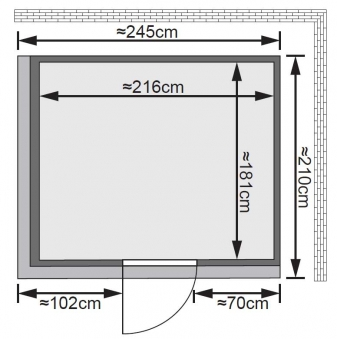 Karibu Sauna Gobin 68mm Dachkranz + Ofen 9kW extern classic Tür Bild 2