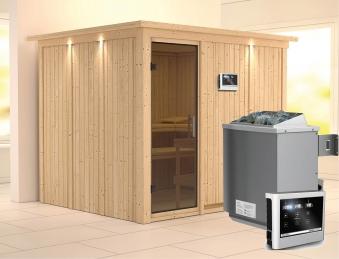 Karibu Sauna Gobin 68mm Dachkranz + Ofen 9kW extern moderne Tür Bild 1