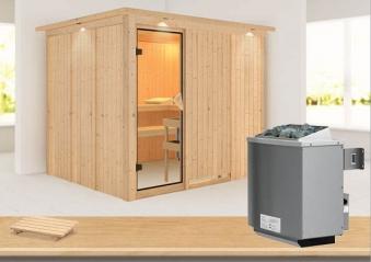 Karibu Sauna Gobin 68mm Dachkranz + Ofen 9kW intern classic Tür Bild 1