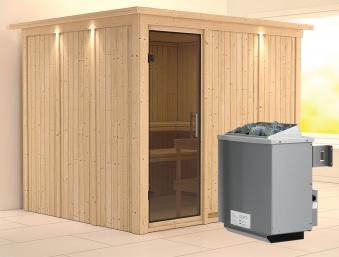 Karibu Sauna Gobin 68mm Dachkranz + Ofen 9kW intern moderne Tür Bild 1