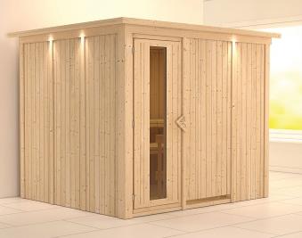 Karibu Sauna Gobin 68mm Dachkranz ohne Ofen Holztür Bild 1