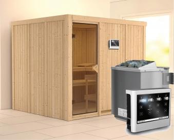 Karibu Sauna Gobin 68mm mit Bio Ofen 9kW extern classic Tür Bild 1