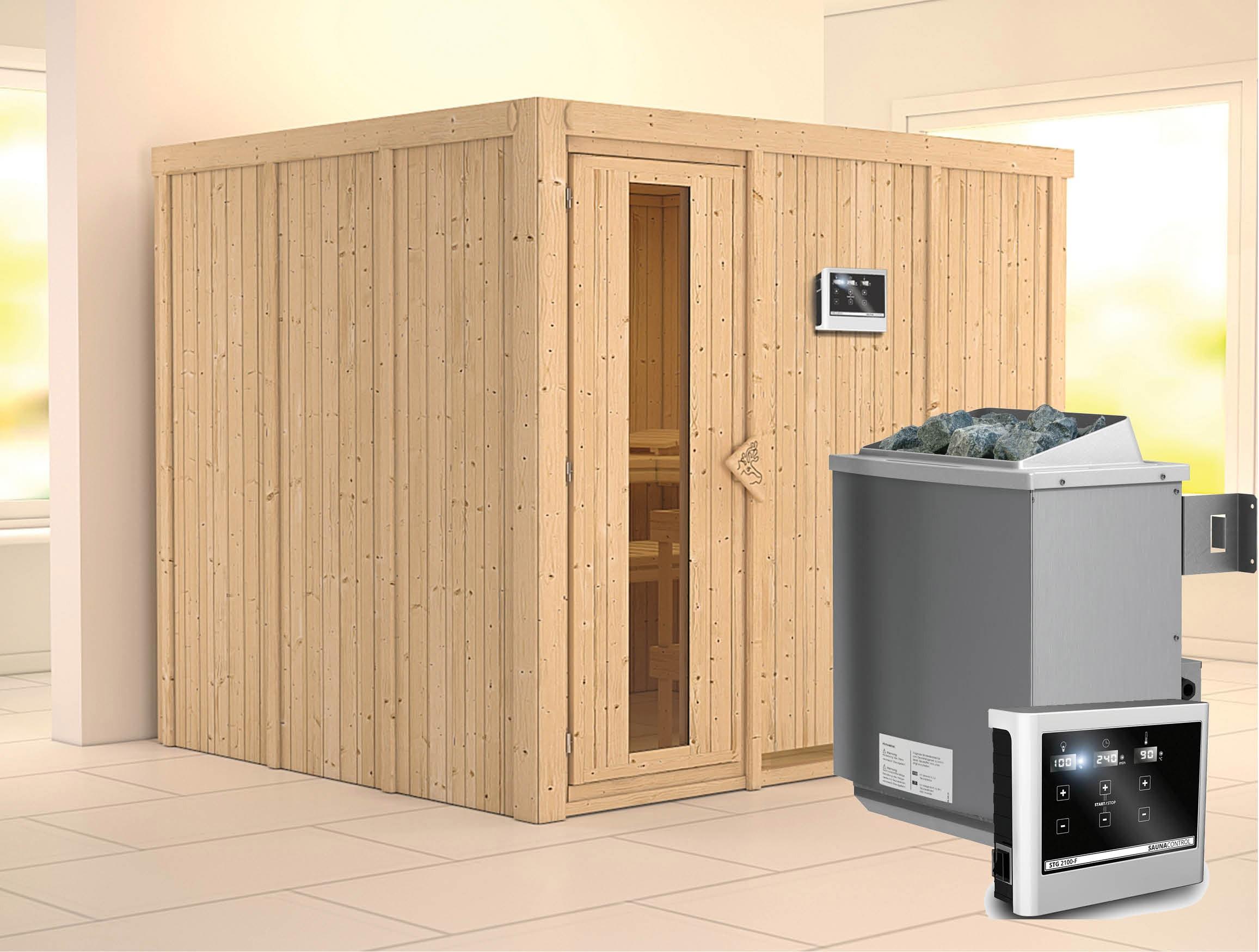 Karibu Sauna Gobin 68mm mit Ofen 9kW extern Holztür Bild 1
