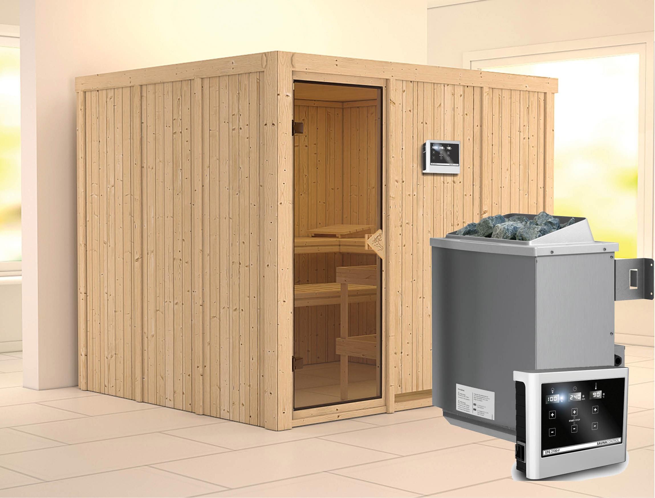 Karibu Sauna Gobin 68mm mit Ofen 9kW extern classic Tür Bild 1