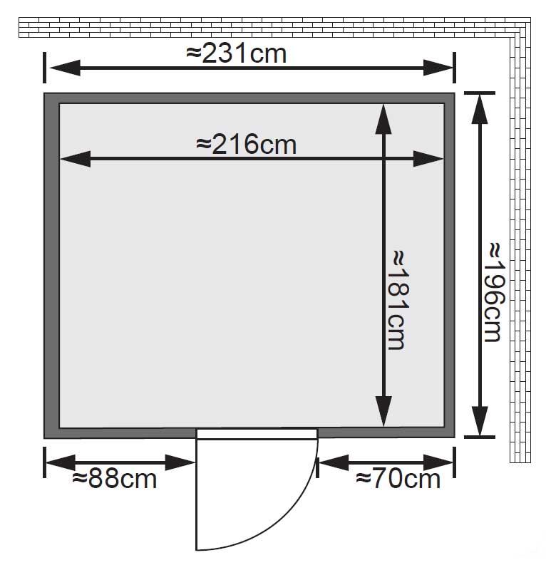 Karibu Sauna Gobin 68mm mit Ofen 9kW extern classic Tür Bild 2