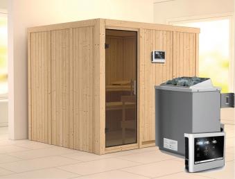 Karibu Sauna Gobin 68mm mit Ofen 9kW extern moderne Tür Bild 1