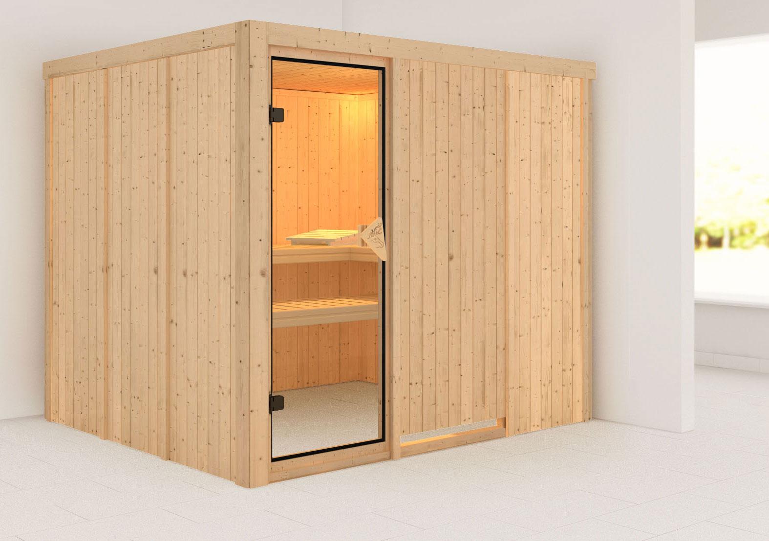 Karibu Sauna Gobin 68mm ohne Ofen classic Tür Bild 1