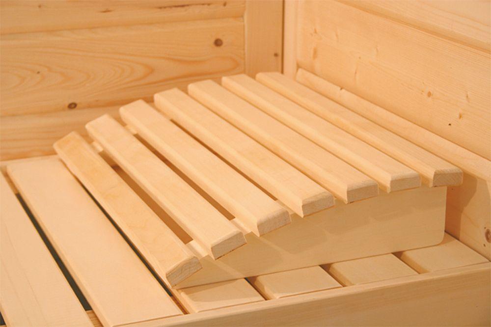 Karibu Sauna Ilona 40mm Dachkranz Bio Ofen 9kW extern Bild 6