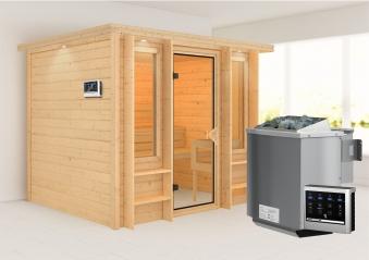 Karibu Sauna Ilona 40mm Dachkranz Bio Ofen 9kW extern Bild 1