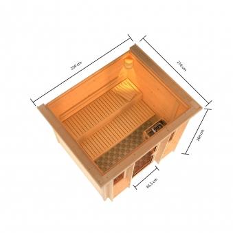 Karibu Sauna Ilona 40mm Dachkranz Bio Ofen 9kW extern Bild 8