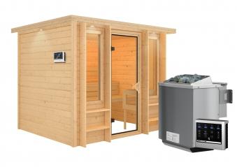 Karibu Sauna Ilona 40mm Dachkranz Bio Ofen 9kW extern Bild 9