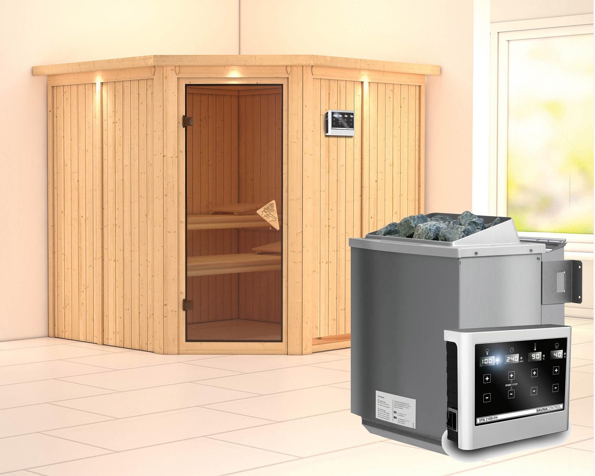Karibu Sauna Jarin 68mm Dachkranz + Bio Ofen 9kW extern classic Tür Bild 1