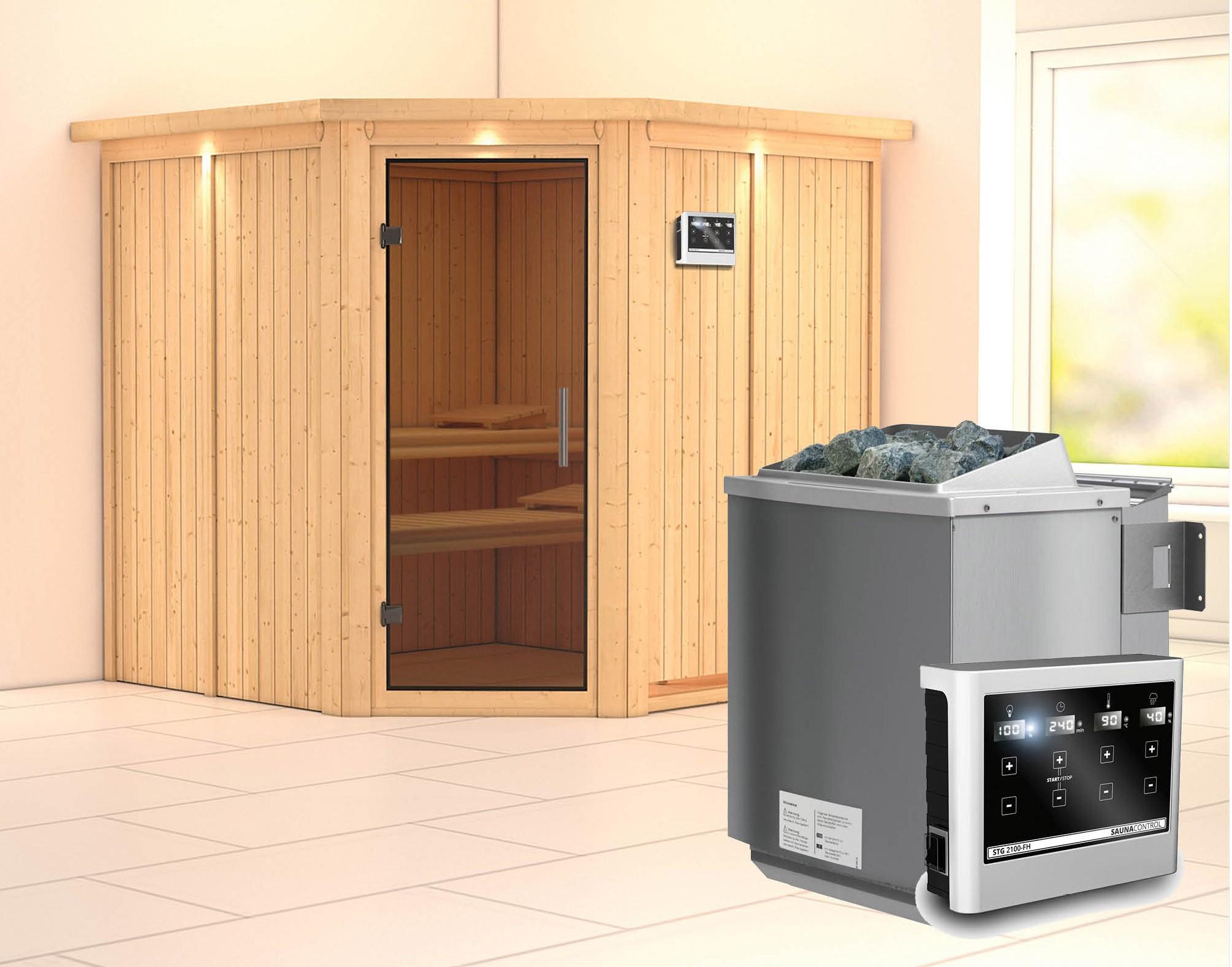 Karibu Sauna Jarin 68mm Dachkranz + Bio Ofen 9kW extern moderne Tür Bild 1