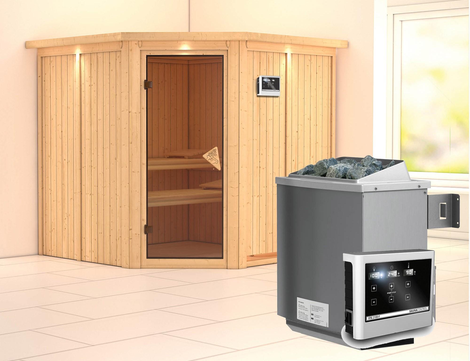 Karibu Sauna Jarin 68mm Dachkranz + Ofen 9kW extern classic Tür Bild 1