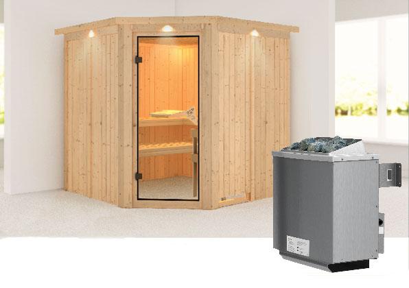 Karibu Sauna Jarin 68mm Dachkranz + Ofen 9kW intern classic Tür Bild 1