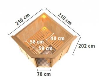 Karibu Sauna Jarin 68mm Dachkranz + Ofen 9kW intern classic Tür Bild 4